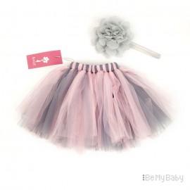PettiSkirt New Born różowo szara