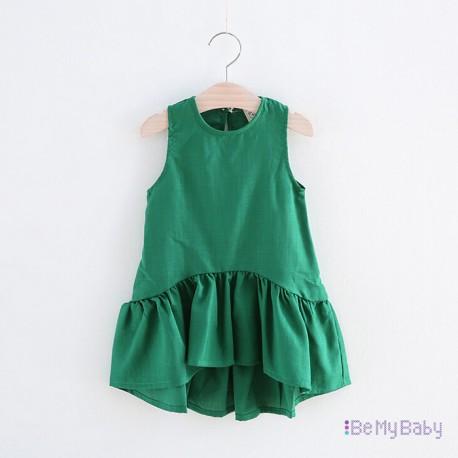 Zielona Klasyczna Sukienka Len