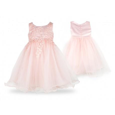 Tiulowa koronkowa sukienka PASTELOWA