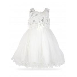 Wizytowa biała tiulowa sukienka z haftami